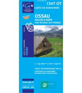 Carte IGN Ossau Vallee d'Aspe Col de Sompor Col du Pourtalet Pn des Pyrenees - IGN 1547OT