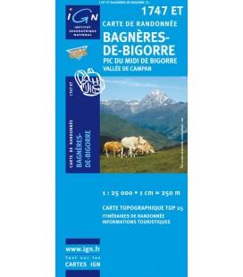 Carte IGN Bagneres-De-Bigorre Pic du Midi de Bigorre Vallee de Campan - IGN 1747ET