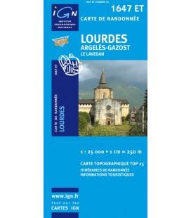 Carte IGN Lourdes Argeles-Gazost Le Lavedan - IGN 1647ET
