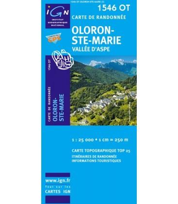 Carte IGN Oloron-Sainte-Marie Vallee d'Aspe - IGN 1546OT