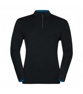 ODLO NATURAL 100 MERINO WARM T-SHIRT HOMME BLACK/MYKONOS BLUE (M)