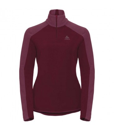 ODLO PULL 1/2 ZIP ROYALE RUMBA RED/MESA ROSE-STRIPES (W)