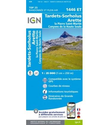 CARTE IGN Tardets Sorholus La-Pierre-Saint-Martin Canyons de la Haute Source - IGN 1446ET